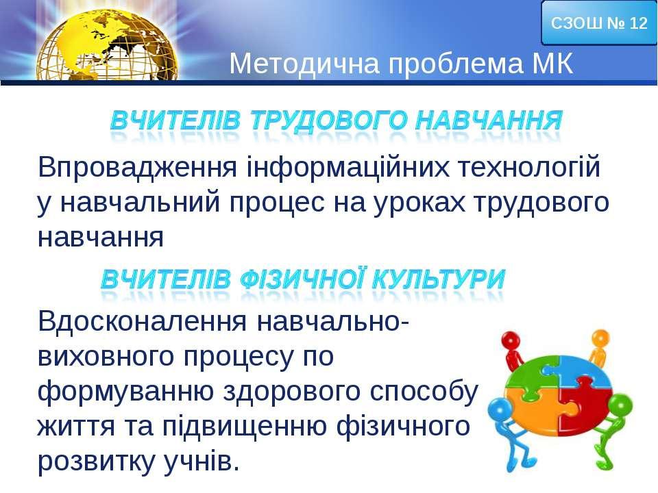 Методична проблема МК СЗОШ № 12 Впровадження інформаційних технологій у навча...