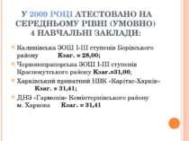 У 2009 РОЦІ АТЕСТОВАНО НА СЕРЕДНЬОМУ РІВНІ (УМОВНО) 4 НАВЧАЛЬНІ ЗАКЛАДИ: Кали...