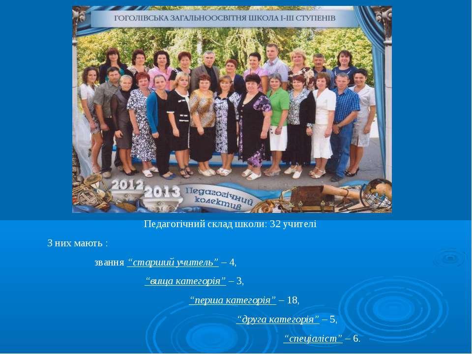 """Педагогічний склад школи: 32 учителі З них мають : звання """"старший учитель"""" –..."""
