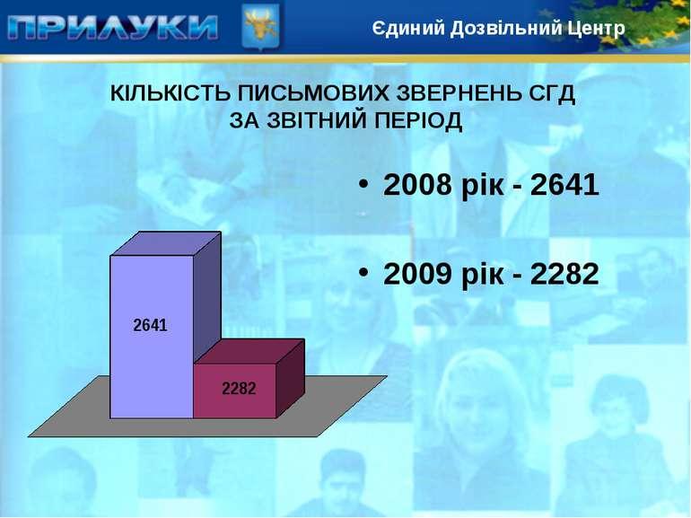 КІЛЬКІСТЬ ПИСЬМОВИХ ЗВЕРНЕНЬ СГД ЗА ЗВІТНИЙ ПЕРІОД 2008 рік - 2641 2009 рік -...
