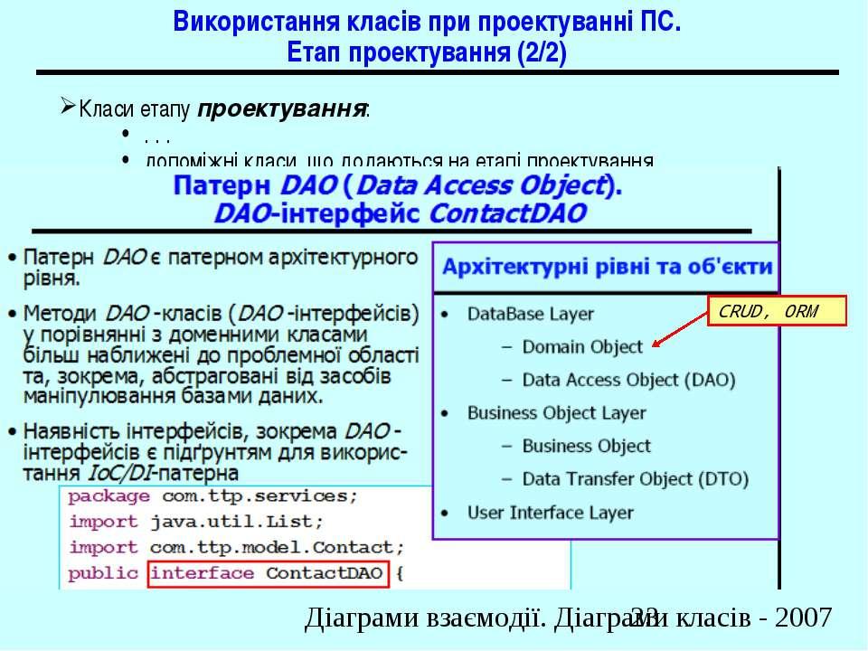 Використання класів при проектуванні ПС. Етап проектування (2/2) Класи етапу ...