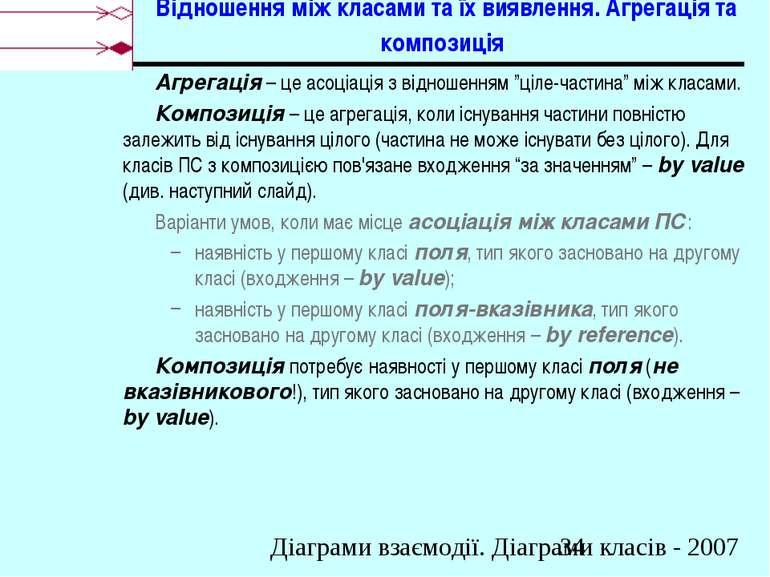 Відношення між класами та їх виявлення. Агрегація та композиція Агрегація – ц...