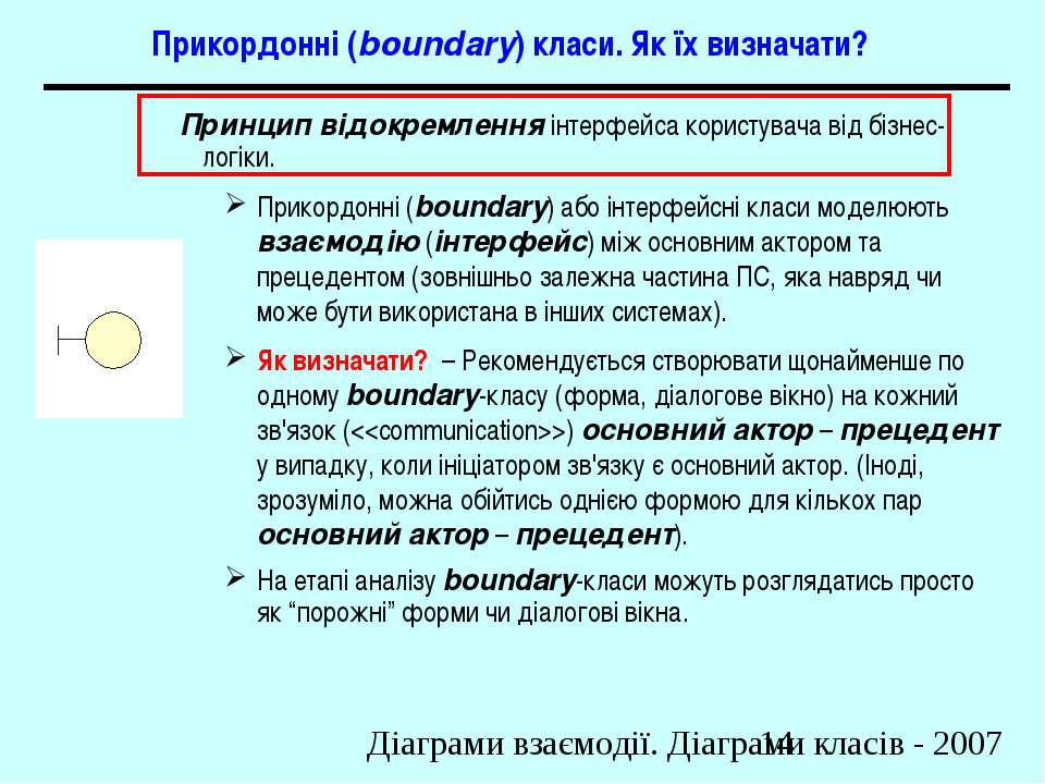 Прикордонні (boundary) класи. Як їх визначати? Принцип відокремлення інтерфей...