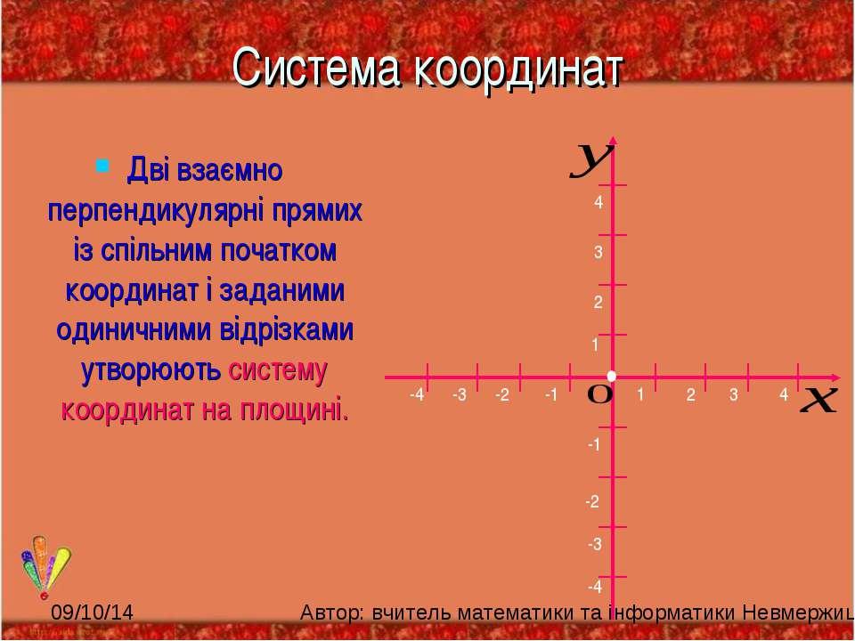 Система координат Дві взаємно перпендикулярні прямих із спільним початком коо...