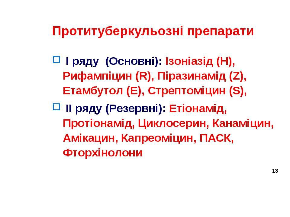 Протитуберкульозні препарати I ряду (Основні): Ізоніазід (Н), Рифампіцин (R),...