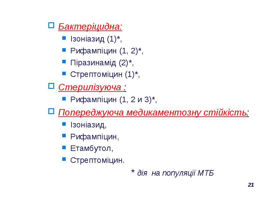 Бактеріцидна: Ізоніазид (1)*, Рифампіцин (1, 2)*, Піразинамід (2)*, Стрептомі...