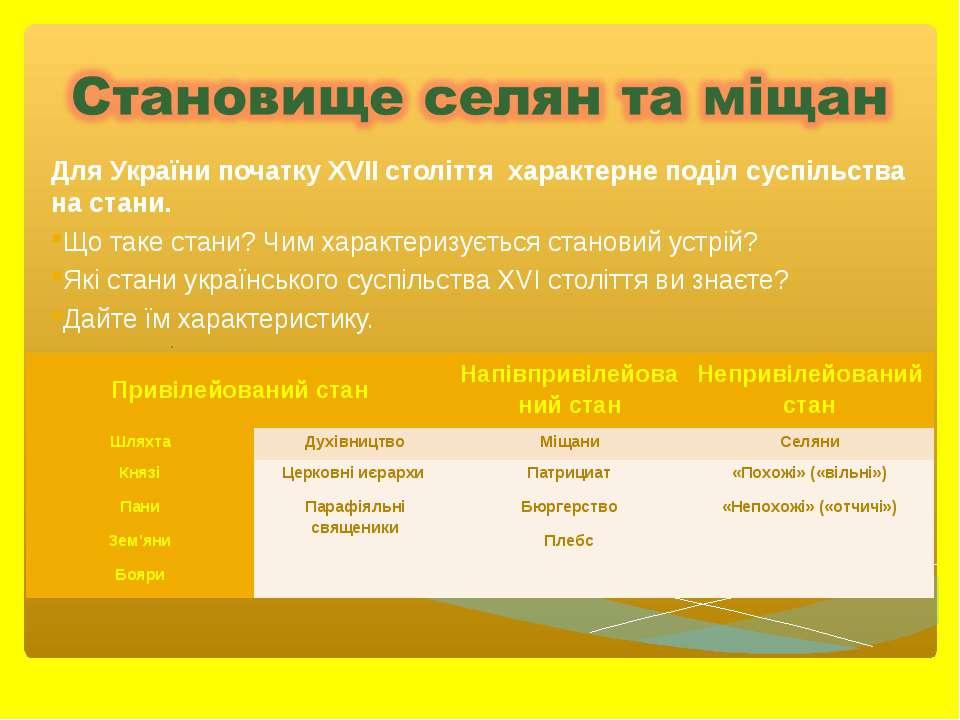 Для України початку ХVII століття характерне поділ суспільства на стани. Що т...