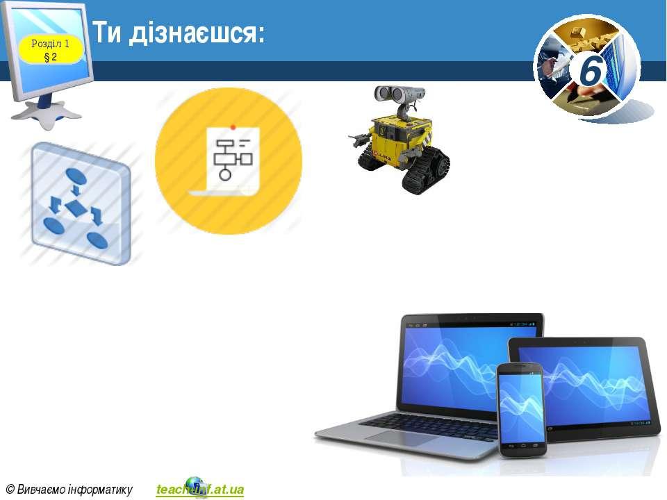 Ти дізнаєшся: Розділ 1 § 2 6 © Вивчаємо інформатику teach-inf.at.ua