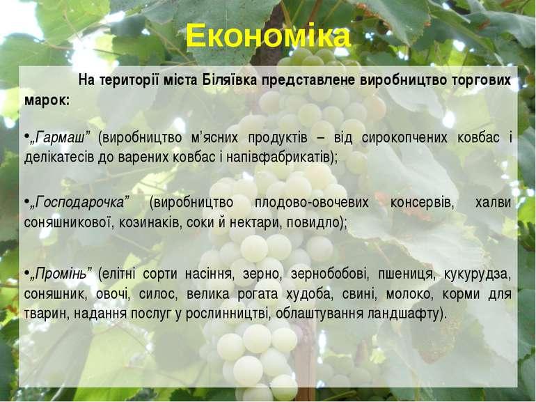 """На території міста Біляївка представлене виробництво торгових марок: """"Гармаш""""..."""