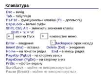 Клавіатура Esc – вихід Tab – табуляція F1-F12 – функціональні клавіші (F1 – д...