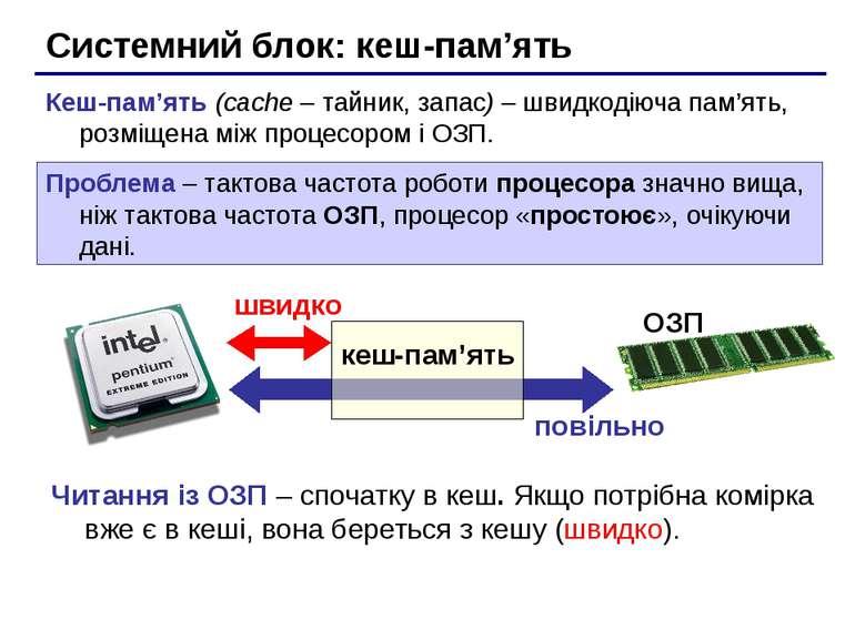 Системний блок: кеш-пам'ять Кеш-пам'ять (cache – тайник, запас) – швидкодіюча...