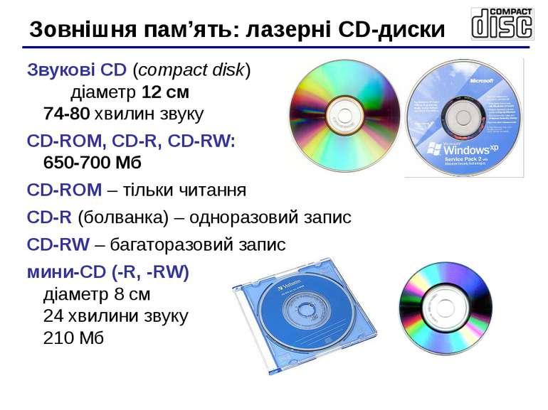 Звукові CD (compact disk) діаметр 12 см 74-80 хвилин звуку CD-ROM, CD-R, CD-R...