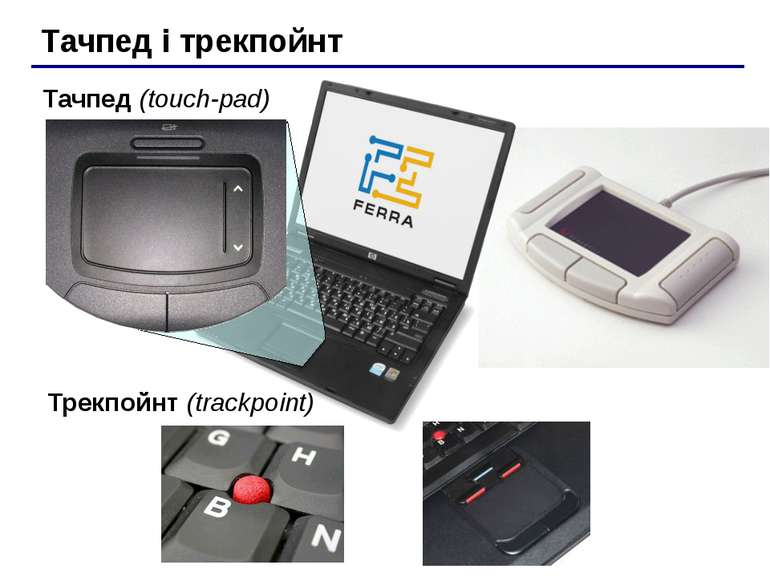 Тачпед і трекпойнт Тачпед (touch-pad) Трекпойнт (trackpoint)