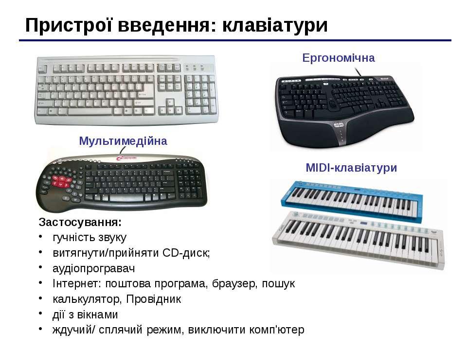 Пристрої введення: клавіатури MIDI-клавіатури Ергономічна Мультимедійна Засто...