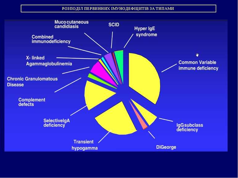 РОЗПОДІЛ ПЕРВИННИХ ІМУНОДЕФІЦИТІВ ЗА ТИПАМИ
