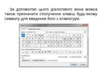 За допомогою цього діалогового вікна можна також призначити сполучення клавіш...