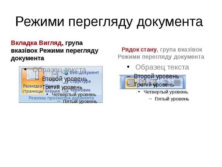 Режими перегляду документа Вкладка Вигляд, група вказівок Режими перегляду до...