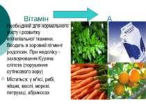 Вітамін А Необхідний для нормального росту і розвитку епітеліальної тканини. ...