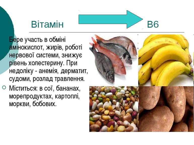 Вітамін В6 Бере участь в обміні амінокислот, жирів, роботі нервової системи, ...