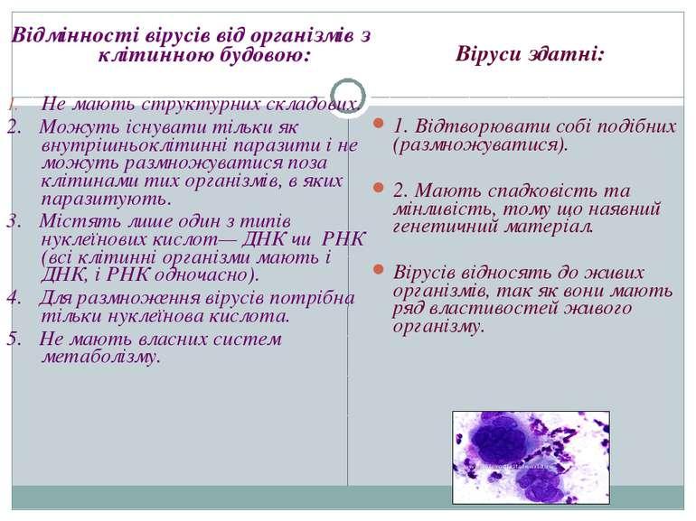 Відмінності вірусів від організмів з клітинною будовою: Не мають структурних ...
