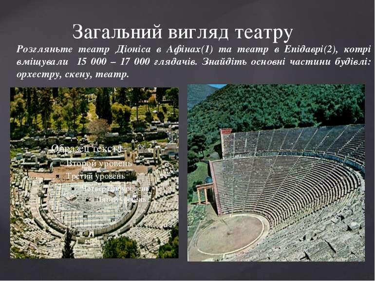 Загальний вигляд театру Розгляньте театр Діоніса в Афінах(1) та театр в Епіда...
