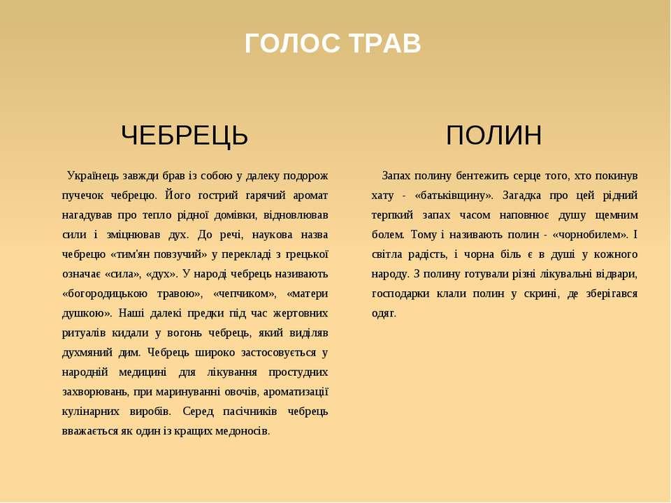 ГОЛОС ТРАВ ЧЕБРЕЦЬ Українець завжди брав із собою у далеку подорож пучечок че...