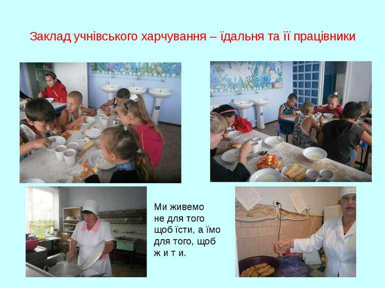 Заклад учнівського харчування – їдальня та її працівники Ми живемо не для тог...