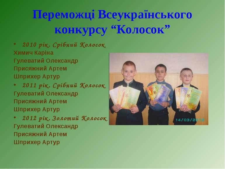 2010 рік. Срібний Колосок 2010 рік. Срібний Колосок Химич Каріна Гулеватий Ол...