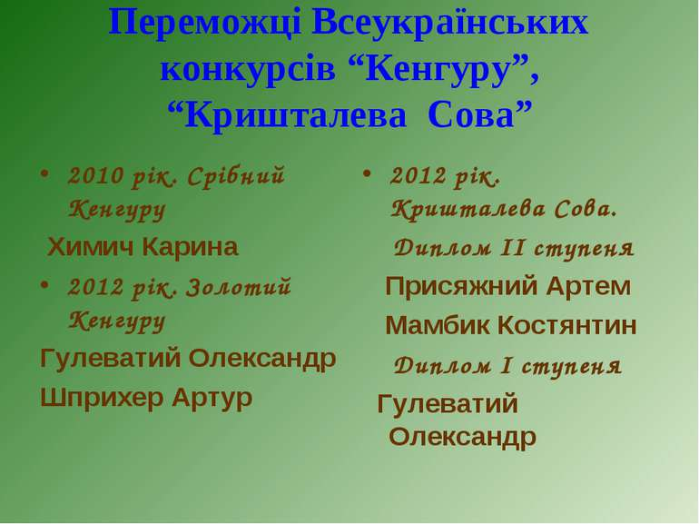 2010 рік. Срібний Кенгуру 2010 рік. Срібний Кенгуру Химич Карина 2012 рік. Зо...