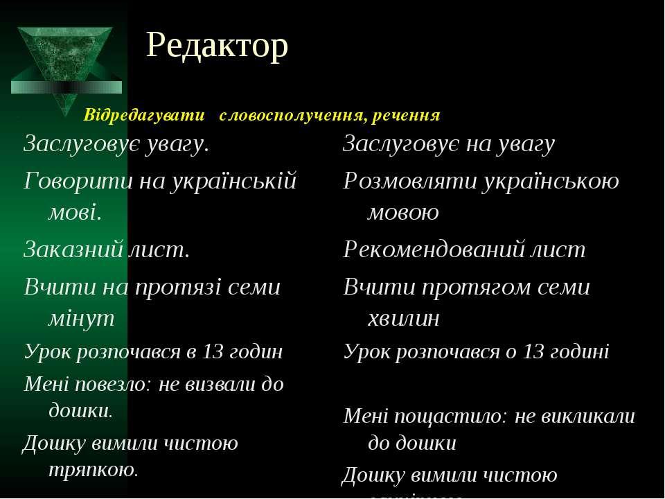 Редактор Заслуговує увагу. Говорити на українській мові. Заказний лист. Вчити...
