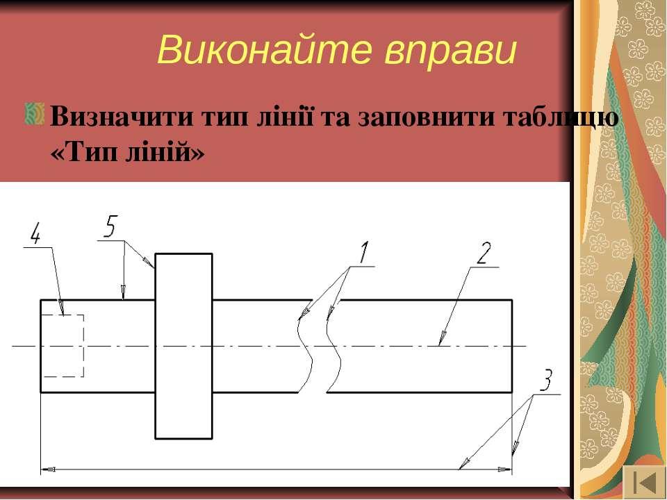Визначити тип лінії та заповнити таблицю «Тип ліній» Виконайте вправи