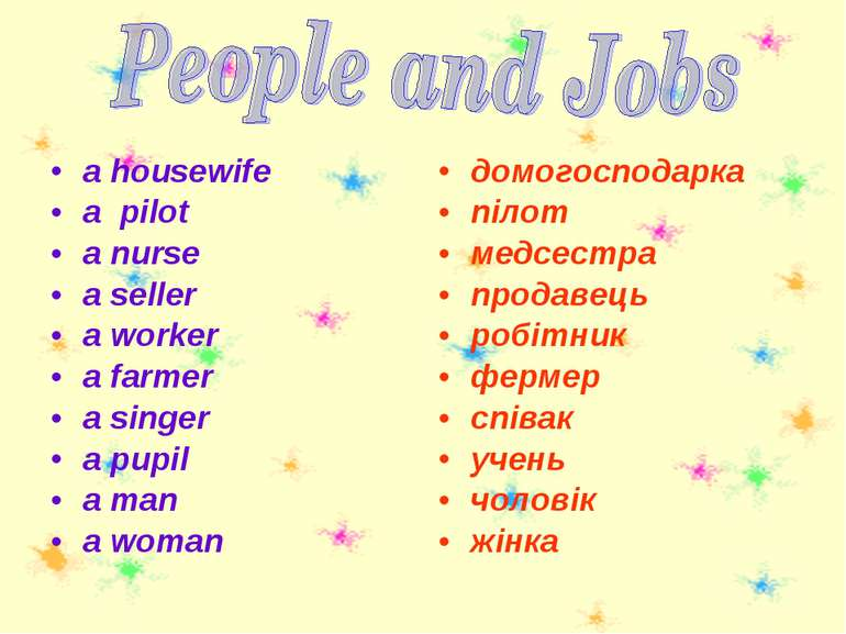 a housewife a pilot a nurse a seller a worker a farmer a singer a pupil a man...
