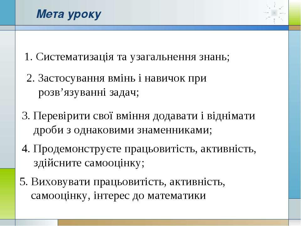Мета уроку 1. Систематизація та узагальнення знань; 2. Застосування вмінь і н...