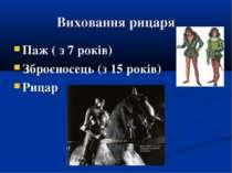 Виховання рицаря Паж ( з 7 років) Зброєносець (з 15 років) Рицар