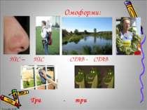 Три - три НІС – НІС СТАВ - СТАВ Омоформи: Громова Н.М. Громова Н.М.
