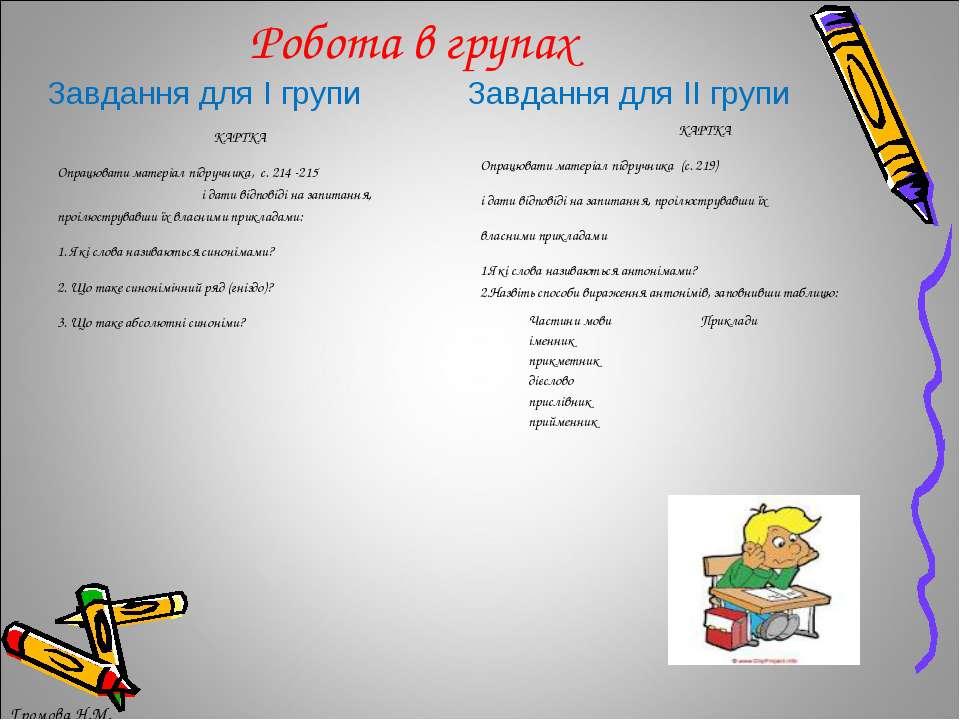 Робота в групах Завдання для І групи Завдання для ІІ групи Громова Н.М. КАРТК...
