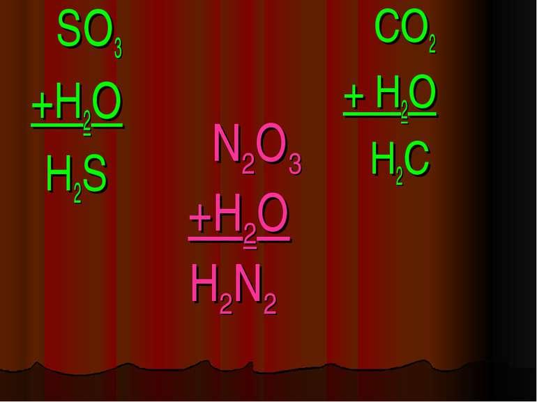 N2O3 +H2O H2N2 SO3 +H2O H2S CO2 + H2O H2C