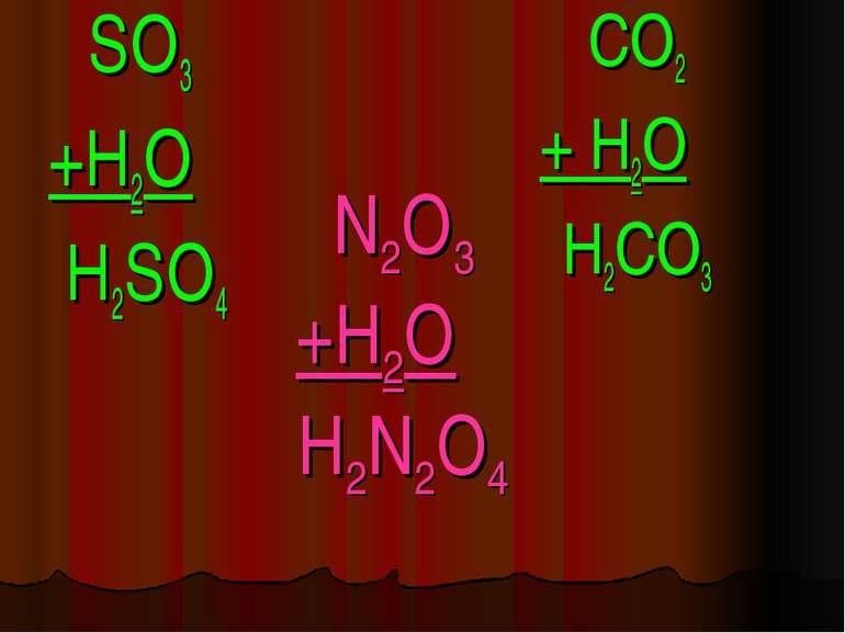 N2O3 +H2O H2N2O4 SO3 +H2O H2SO4 CO2 + H2O H2CO3