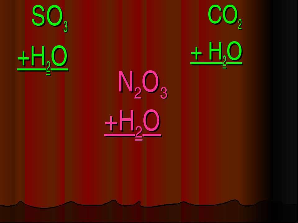 N2O3 +H2O SO3 +H2O CO2 + H2O