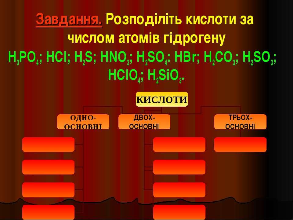 Завдання. Розподіліть кислоти за числом атомів гідрогену H3PO4; HCl; H2S; HNO...