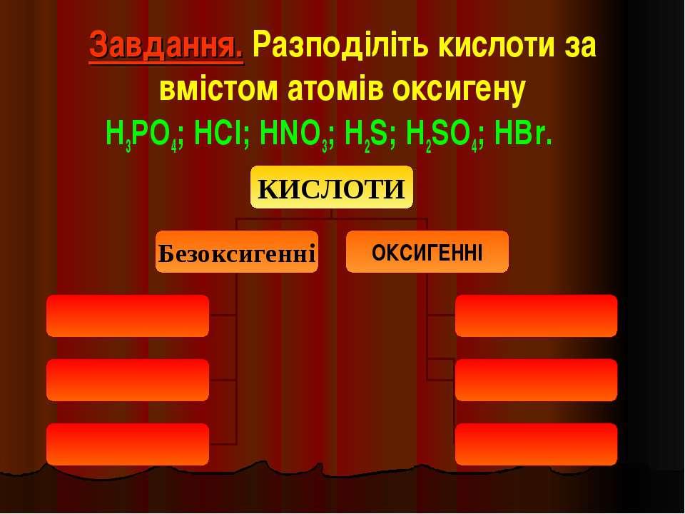 Завдання. Разподіліть кислоти за вмістом атомів оксигену H3PO4; HCl; HNO3; H2...