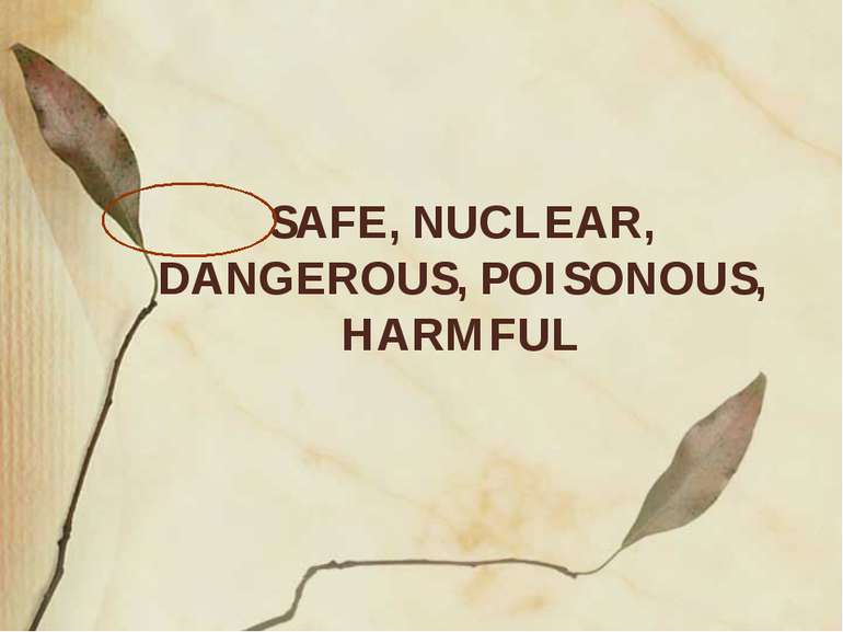 SAFE, NUCLEAR, DANGEROUS, POISONOUS, HARMFUL