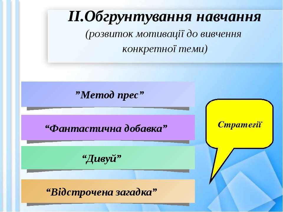 """ІІ.Обгрунтування навчання (розвиток мотивації до вивчення конкретної теми) """"..."""