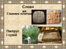 Словник Глиняні плитки Папірус і сувій