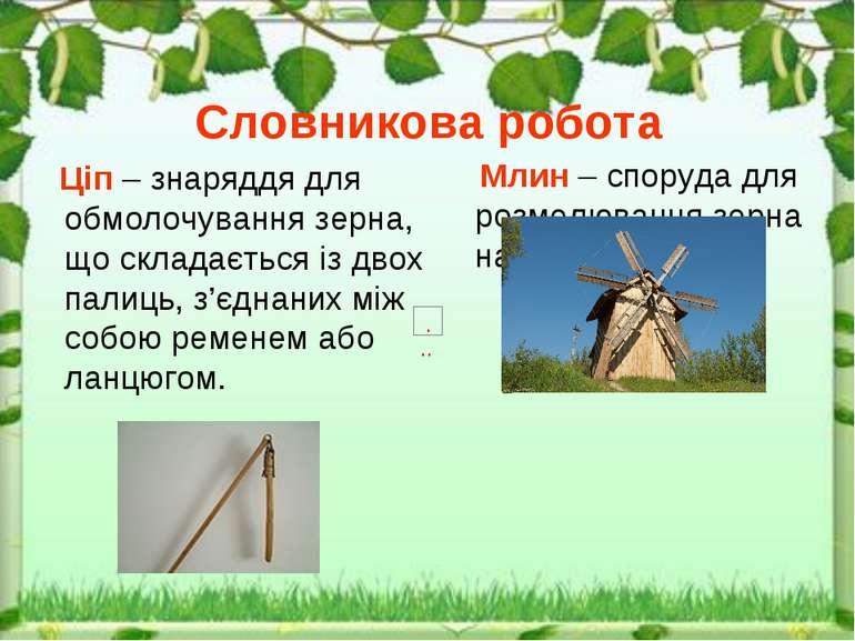 Словникова робота Ціп – знаряддя для обмолочування зерна, що складається із д...