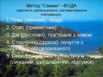 """Метод """"Сенкан"""" –ВОДА (здатність узагальнювати, систематизувати інформацію) 1...."""
