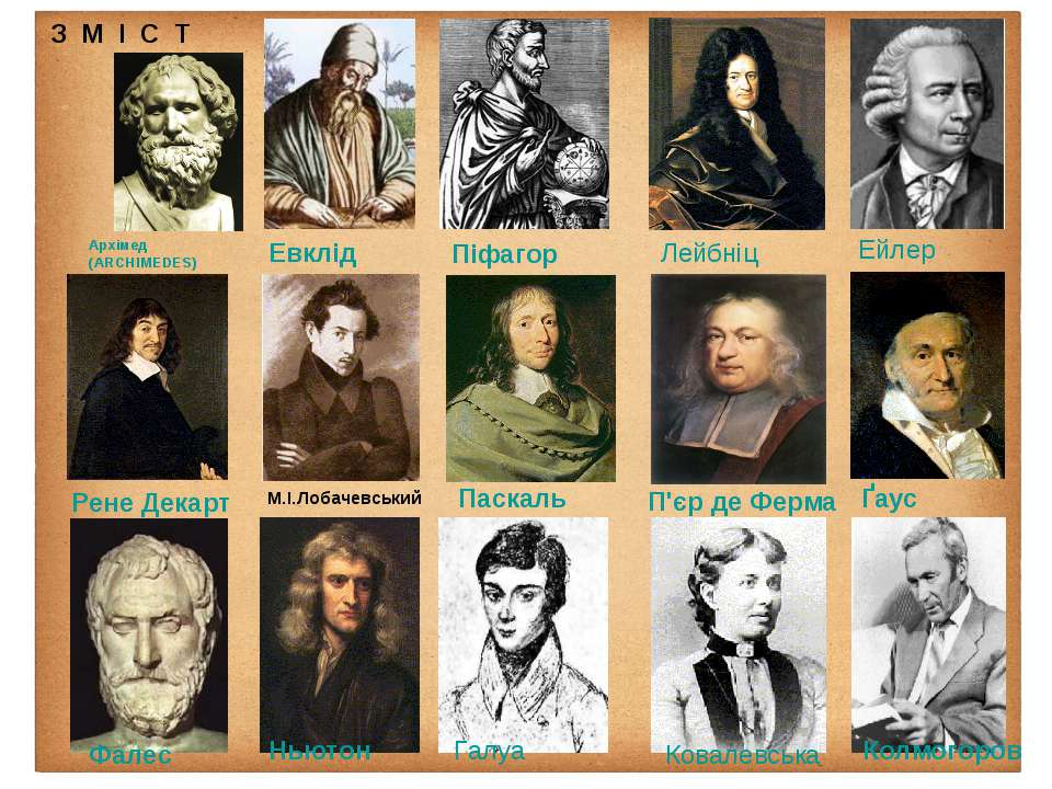 Евклід Архімед (ARCHIMEDES) Паскаль Рене Декарт Ньютон П'єр де Ферма Лейбніц...