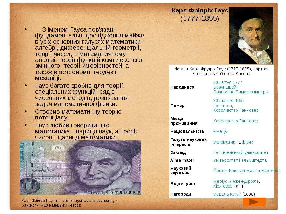 Карл Фрідріх Ґаус (1777-1855) З іменем Гауса пов'язані фундаментальні дос...