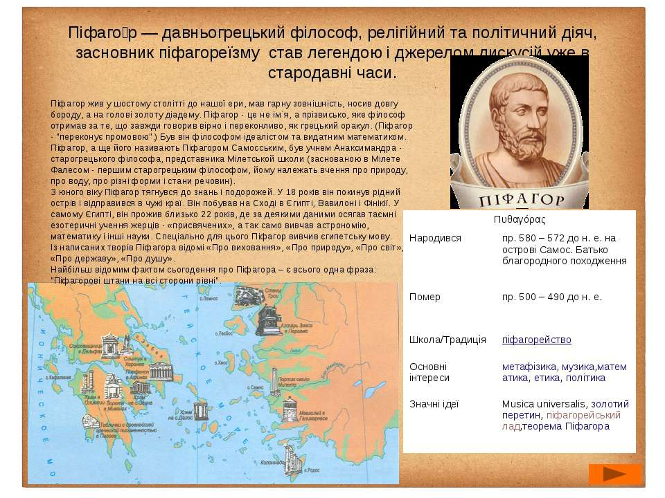 Піфаго р— давньогрецькийфілософ, релігійний та політичний діяч, засновникп...
