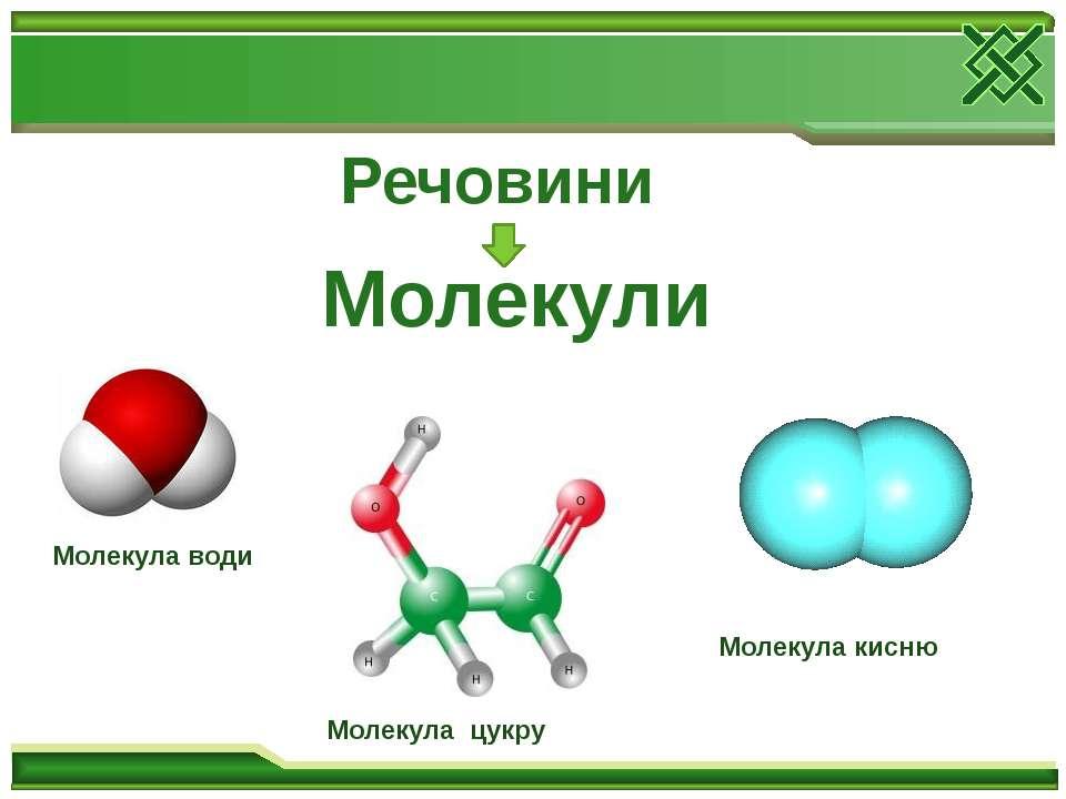 Речовини Молекули Молекула води Молекула цукру Молекула кисню